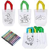 Goldge DIY Kinder Stoffbeutel Set,10 stück Tragetasche und 12 Kreidemarker Buntstift für Kinder, Kindergarten,DIY