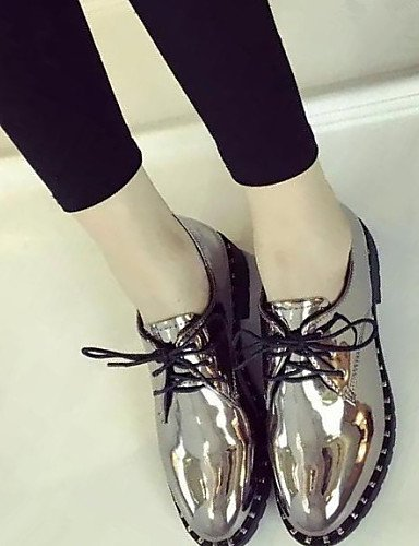 ZQ hug Scarpe Donna-Sneakers alla moda-Casual / Formale-Comoda / A punta-Quadrato-Finta pelle-Nero / Argento , silver-us7.5 / eu38 / uk5.5 / cn38 , silver-us7.5 / eu38 / uk5.5 / cn38 black-us6 / eu36 / uk4 / cn36