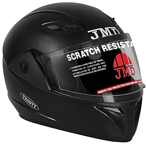 JMD Helmets Trusty Full Face Helmet (Black, L)