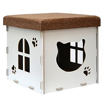 eyepower Dôme pour Chat 38x38x38cm petite Maison S incl griffoir boîte carrée avec couvercle rembourré pour s'asseoir repose-pied Blanc