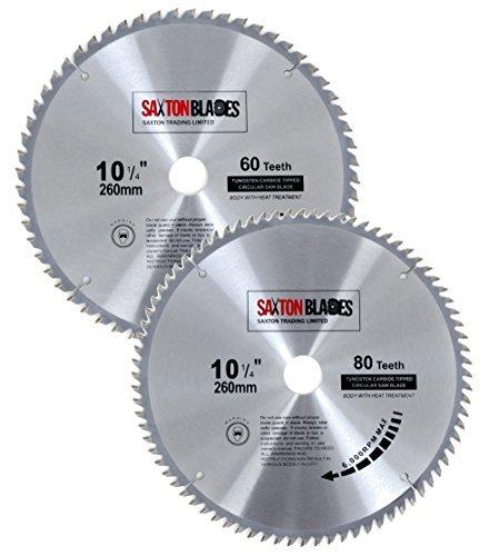 Ensemble de 2 lames Saxton TCT260MXA - Lames de scie circulaire à bois de 260 x 30 mm pour Bosch, Makita, Dewalt, Pack A