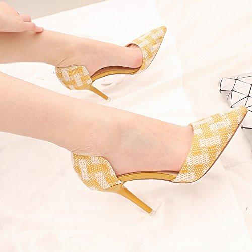 kphy della La Primavera e l' estate scarpe da donna e versatile formato Incolla colorato punta alta 9cm schuhe. aufgeschluesselt dopo luce della Cava singolo scarpe Yellow
