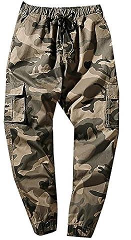 Fulok Mens Multi Pockets Camo Elastic Waist Baggy Jogger Pants Large Khaki