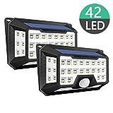 Luz Solar Exterior, iGOKU 2pcs Upgraded 42 LED Lámpara Solar Gran Ángulo 270º Impermeable P65 Resistente al Calor 3 Modos y Sensor de Movimiento para Jardín, Patio, Garaje, Camino
