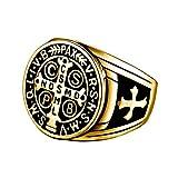 BOBIJOO Jewelry - Bague Chevalière Homme Croix Saint Benoît Protection Démon Acier...