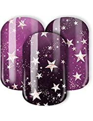 Nail Wraps/Nagelfolien -Purpurgalaxie - Lieblinge 2018 Kollektion - Roségoldene Sterne in einer purpur Galaxie (lila, pink, violett, roségold)