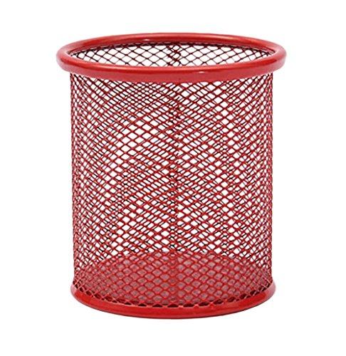Hosaire Pot à Crayons Maille de métal Porte-stylo de mode solid Couleur Boîte de rangement pour Maison/Bureau 5 couleurs facultatives-Rouge
