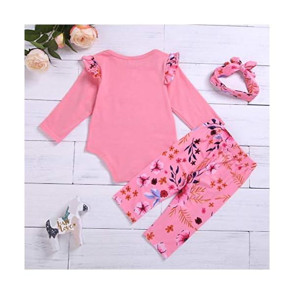 Greenwind Mameluco del bebé 3Pcs Infantil Baby Girls Letter Flower Print Romper Pants Hairband Outfits Set 4