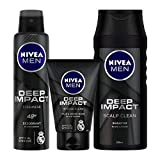 Nivea Deep Impact Deodorant, 150ml and Face Wash, 100ml with Shampoo, 250ml