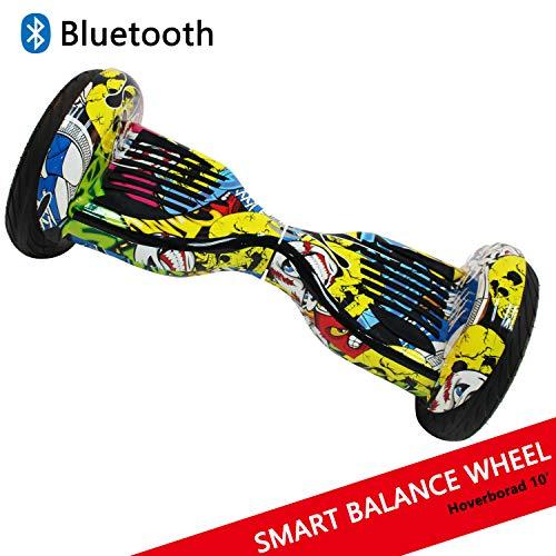 Dragon Hoverboard con Ruedas de 10' Scooter eléctrico Self-Balancing Self Blance Scooter Monopatín eléctrico Smart Self Balance Board Dibujo en Color (Hip-Hop)