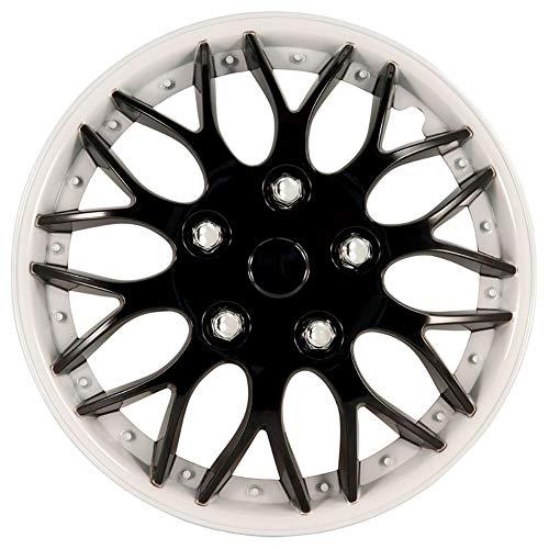 AutoStyle KT970 W/IB 16 Set Copricerchio Missouri 16 Nero + Cerchio Bianco, 4 pezz