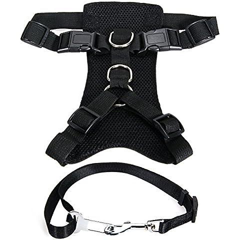 XCSOURCE® Arnés Perro Ajustable para Raza Grande + Cinturón Seguridad Seguro Paseo Fácil Color Negro L PS027