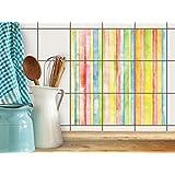 Badezimmerfliesen   Design-Fliesenaufkleber Fliesen-Sticker Dekofolie Badezimmergestaltung   15x15 cm Design Motiv Watercolor Stripes - 9 Stück