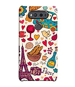 PrintVisa Designer Back Case Cover for LG V20 Dual H990DS :: LG V20 Dual H990N (Illustration Cup Lamp Heart Shape Car Wine Bird Flower)
