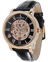 Lindberg & Sons SK14H020 - Reloj automatico analogico de pulsera con diamante real y con correa de cuero negro, para hombre, diseño esqueleto