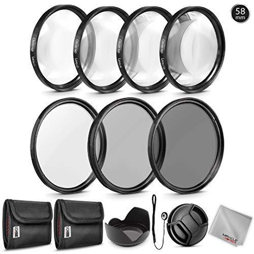 Zeikos Graufilter-Set (58 mm) (ND2 ND4 ND8), Makro-Filter-Set (+1 +2 +4 +10), Tulpenblume Gegenlichtblende, Objektivdeckel und Objektivdeckelhalter mit Tasche und Mikrofasertuch Zeikos-serie