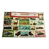 EXPLORA Collection de 100 Timbres Différents Transport - Ensemble de Tout Le Monde / Avions / Navires / Trains Chemin de Fer / Voitures / Bateaux / Camions / Souvenir...