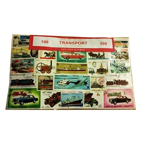 EXPLORA Transport Sammelbare Briefmarken Set von 100 / alle Anders / aus der Ganzen Welt / Flugzeuge / Schiffe / Eisenbahnen / Autos / Boote / Züge / LKW