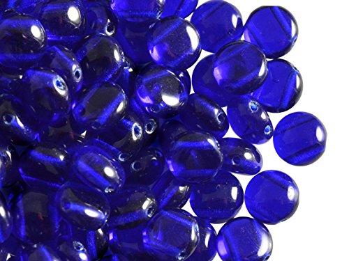 30stk PRECIOSA CandyTM Beads - Tschechische Druckperlen 8 mm, Cobalt Blue Transparent - Cobalt Blue Candy