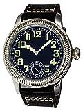 PARNIS 2178 - Reloj de Pulsera para Hombre con Cuerda Manual y luminiscente, diámetro de 44 mm, Acero Inoxidable 316L, Piel de Ternero, Cristal de Zafiro, Seagull ST36