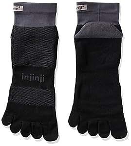 Injinji Run 2.0 Mid Weight Mini-Crew CoolMax Toe Socks-Black Grey-L
