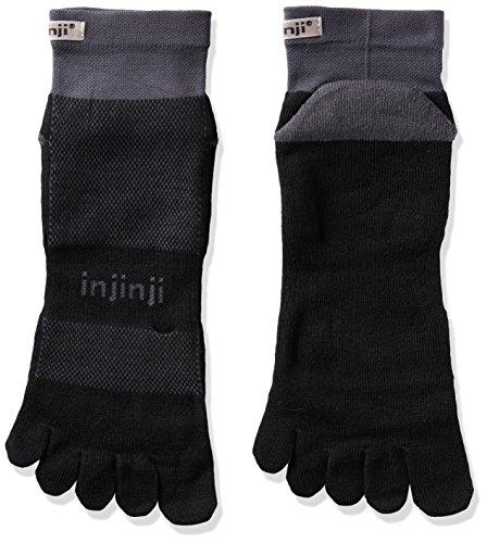 Injinji- 2.0 Run Midweight Mini Crew-Socken-Unisex-Schwarz-Grau -Größe: S -