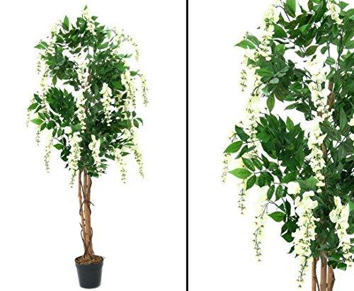 Goldregenbaum Kunstbaum, weiß, mit Zementtopf, Höhe 210cm – künstliche Bäume Blütenbäume