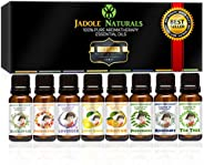 Jadole Naturals Aromatherapy Top 8 Essential Oils 100% Pure & Therapeutic Grade - Basic Sampler Gift Set &