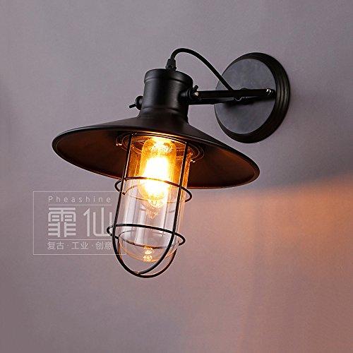 Modeen Loft Rétro Industrie Fer Lampe De Mur En Verre Américain Allée Entrepôt Balcon Extérieur Mur Lumières Réglable Angle Restaurant Bar Chambre Chevet Lampe
