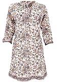 Guru-Shop Boho Tunika, Indische Blusentunika, Minikleid, Damen, Weiß/beige, Baumwolle, Size:XL (44), Blusen & Tunikas Alternative Bekleidung