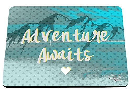 hippowarehouse Abenteuer erwartet Mountain Landschaft bedruckt Mauspad Zubehör Schwarz Gummi Boden 240mm x 190mm x 60mm, blaugrün, Einheitsgröße