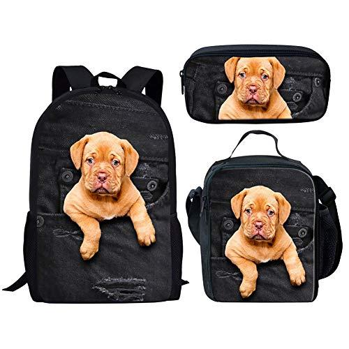 Kinder Schultasche Set Denim Mops schwarz Rucksack mit Lunchboxen Federmäppchen for Teen Boys Girls (Color : Pocket Pet 2 Pattern Set, Size : -) -