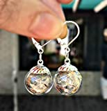 Silver Dandelion Seed Drop Earrings - Bridal earrings Chandelier Unique Cocktail Dangle Earrings handmade statement Bridesmaid Gift Flower