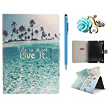 Amazon Kindle Fire HDX8.9 Custodia, Kindle Fire HDX8.9 Cover pelle, Felfy Elegante Ocean Beach Design Slim borsa in pelle Flip PU Custodia Case Cover Stand Magnetico Protezione chiusura ventosa per Amazon Kindle Fire HDX8.9 pollice Tablet Holder con Retina Display, 1x Blu Stilo Penna + 1x Diamanti Fiori spina della polvere