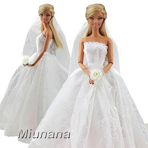 Miunana Abendkleid Spitze Zug Kleidung Kleider Brautkleid Ballkleid mit Brautschleier Hochzeitskleid...