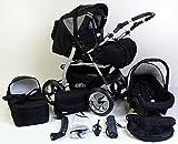 Clamaro 'VIP 2018' 3in1 Premium Kinderwagen Kombi mit Soft Babywanne, Sport Buggy und Autositz Babyschale Gruppe 0+ (0-13 kg), Design: 4. Grau Hartgummi Bereifung - 33. Schwarz