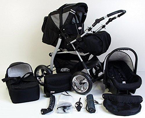 Clamaro \'VIP 2018\' 3in1 Premium Kinderwagen Kombi mit Soft Babywanne, Sport Buggy und Autositz Babyschale Gruppe 0+ (0-13 kg), Design: 1. ALU Hartgummi Bereifung - 33. Schwarz