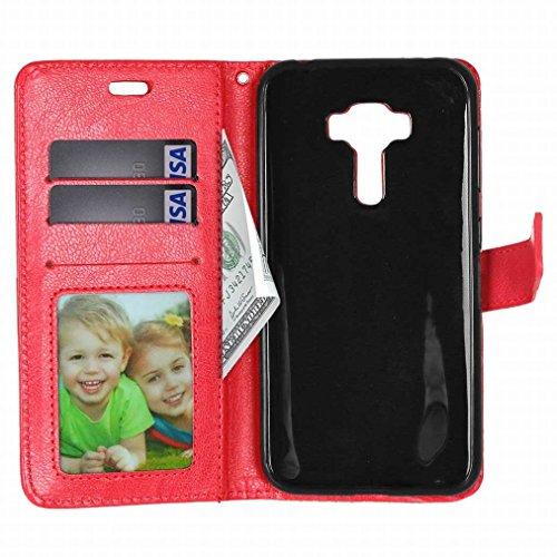 Custodia Asus Zenfone 3 ZE552KL Cover Case, Ougger Portafoglio PU Pelle Magnetico Stand Morbido Silicone Flip Bumper Protettivo Gomma Shell Borsa Custodie con Slot per Schede Colore Verde Rosso