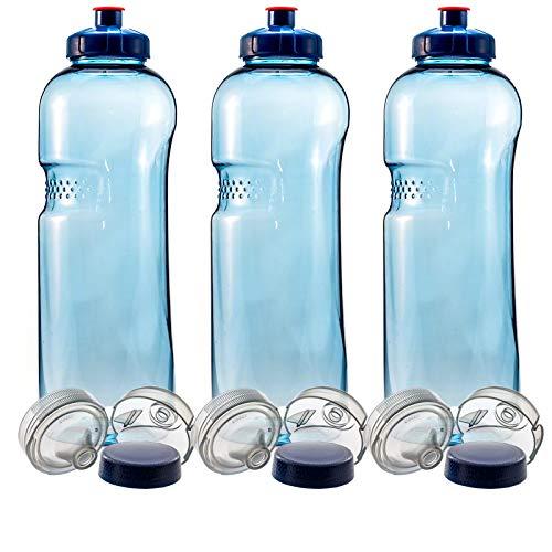 3 x 0,75 L Trinkflasche Wasserflasche aus Tritan (BPA frei) + 3 x Trinkdeckel Push-Pull mit Trinknippel + 3 x Trinkdeckel Flip Top + Gewindedeckel Blau -