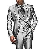 Suit Me adattata degli uomini 3 tuta per il partito di nozze giacca smoking, gilet, pantaloni argento L