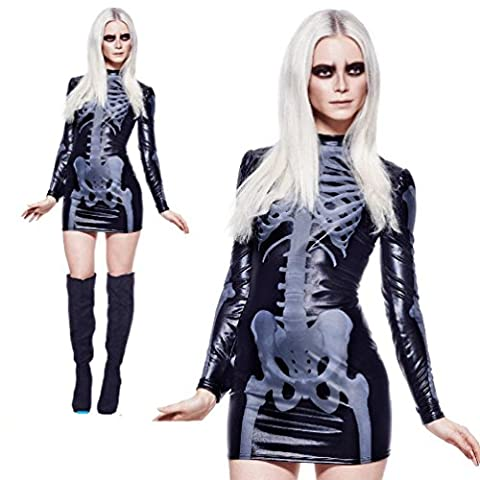 Skeleton Dress Costume Womens Ladies Halloween Sexy Scary Fancy Dress Outfit