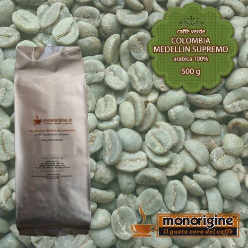 Caffè Verde in Grani Colombia Medellin Supremo 500 gr - Caffè Monorigine Arabica 100%