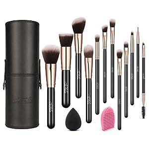 Make Up Brushes with Case, TheFellie Makeup Brush Set plus Brush Cleaner and Blending Sponge, Rose Gold 12pcs
