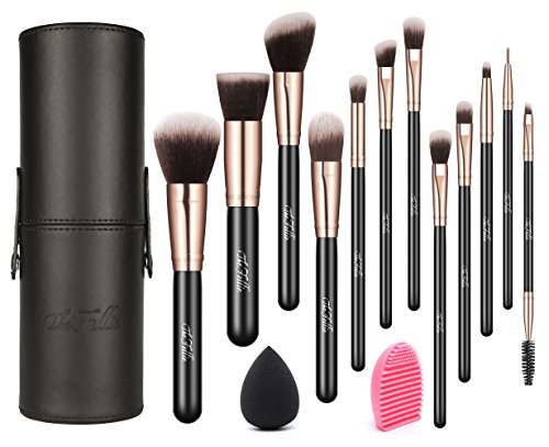Make Up Brosses avec étui, The Fellie Makeup Brush Set plus brosse et éponge de mélange, Rose Gold 12pcs