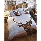 Thru The Lens Highland Stag herten dubbele dekbedovertrek beddengoed set en 2 kussenslopen, wit, polyester-katoen, bruin