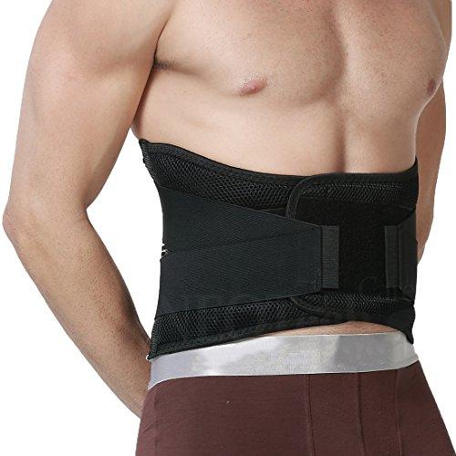 Apoyo lumbar con fuertes tirantes de doble banda, Faja para la Cintura/Espalda/Zona lumbar - Marca Neotech Care - Color Negro - Talla XL