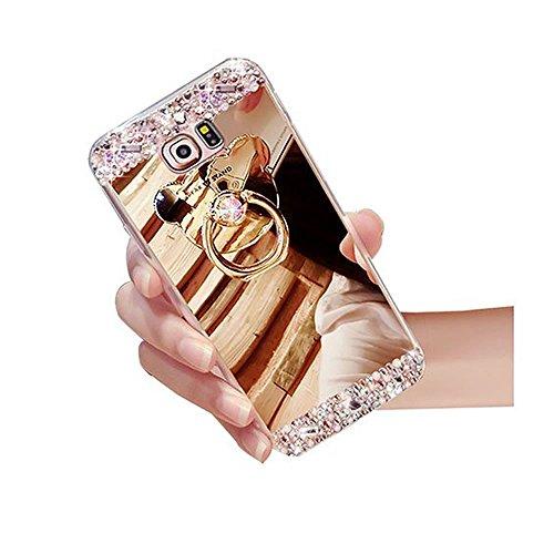 Sycode Custodia Specchio in Silicone per Galaxy S3,Diamante Mirror Cover per Galaxy S3,Strass Bling Tpu Bumper Case per Samsung Galaxy S3 Lusso Moda Donne Della Ragazza Ultrasottile Luccichio Glitter Scintillare Compongono Lo Specchio Magro Anti-Graffio Antiurto Gel Silicone Custodia Completa Protettiva Bumper Shell Skin Cover con Orso Ring Supporto per Samsung Galaxy S3-Orso Ring Supporto Oro