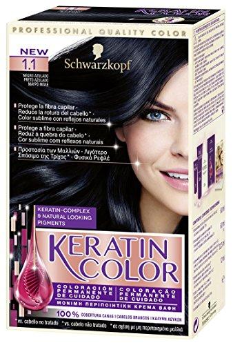 Keratin Color - Coloración permanente para el cabello, Tono 1.1, 1 unidad