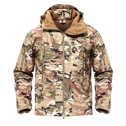 Tarnung Shjzom Shark Skin Military Jacket Herren Softshell Waterpoof Camo Kleidung Tactical Camouflage Army Hoody Winter Coat CP XL