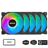 upHere 120mm RGB LED-Lüfter für PC-Gehäuse, CPU, Kühler und Heizungen Ultra Leise High Airflow verstellbar Farbe Computer Case Fan, 5er Pack (c8123–5)
